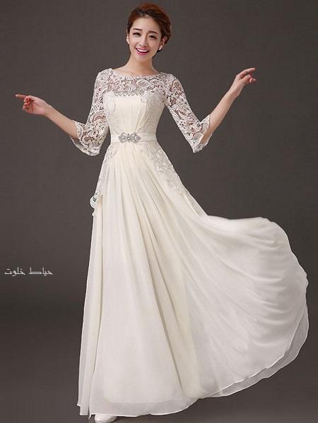 لباس مجلسی دخترانه سفید و بلند