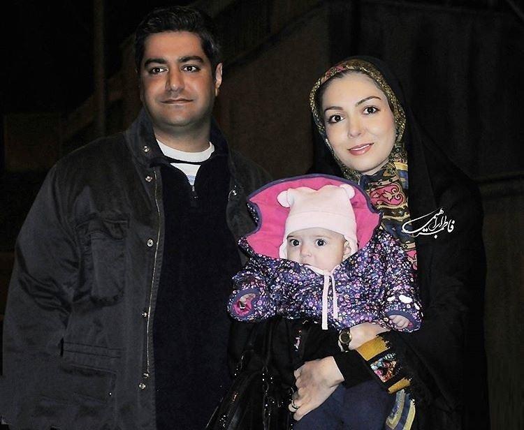آزاده نامداری در جشنواره فیلم فجر ۹۵ به همراه همسر و دخترش