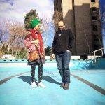 تیپ عجیب و غریب خانم بازیگر در کنار همسرش + عکس