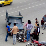 حادثه شدید برای ۳ دختر موتورسوار در جاده قم