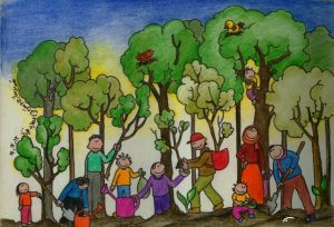 نقاشی روز درختکاری برای کودکان