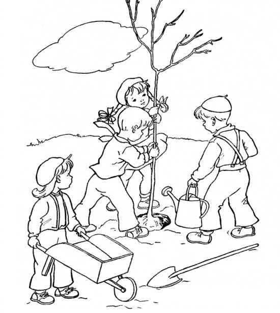 نقاشی کودکانه , روز درختکاری