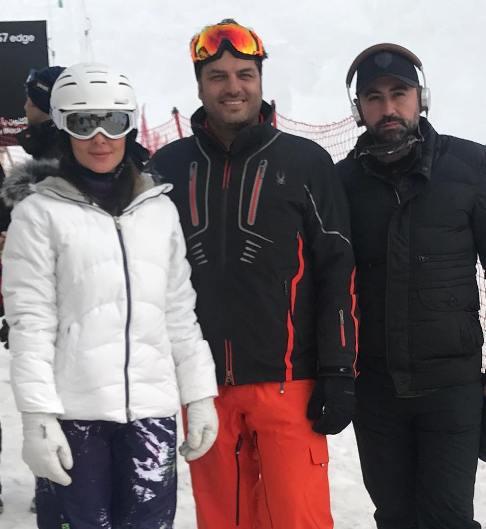 اسکی بازی سام درخشانی و همسرش