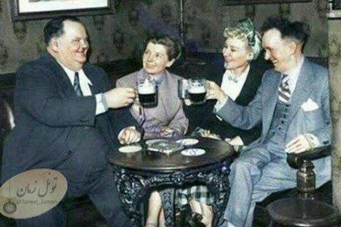لورل و هاردی در کنار همسران شان