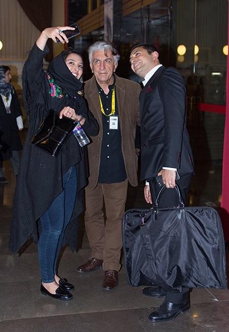 اشکان خطیبی و همسرش در اختتامیه جشنواره جهانی فیلم فجر