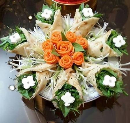 تزیین نان و پنیر و سبزی افطار به صورت شیک و مجلسی