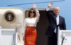 عوض کردن لباس ملانیا ترامپ در هواپیما عربستان + عکس