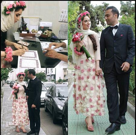 مدل لباس زیبا هانیه غلامی در مراسم ازدواجش