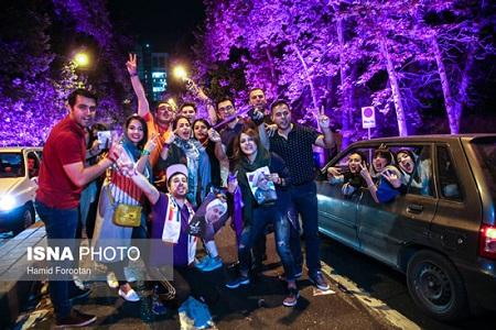 شادی طرفداران روحانی در تهران