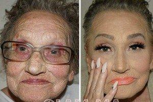 چهره باورنکردنی پیرزن 80 ساله بعد از آرایش
