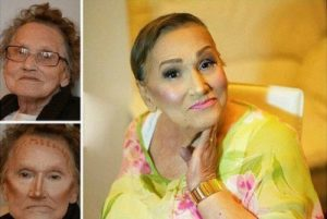 چهره باورنکردنی پیرزن ۸۰ ساله بعد از آرایش+عکس