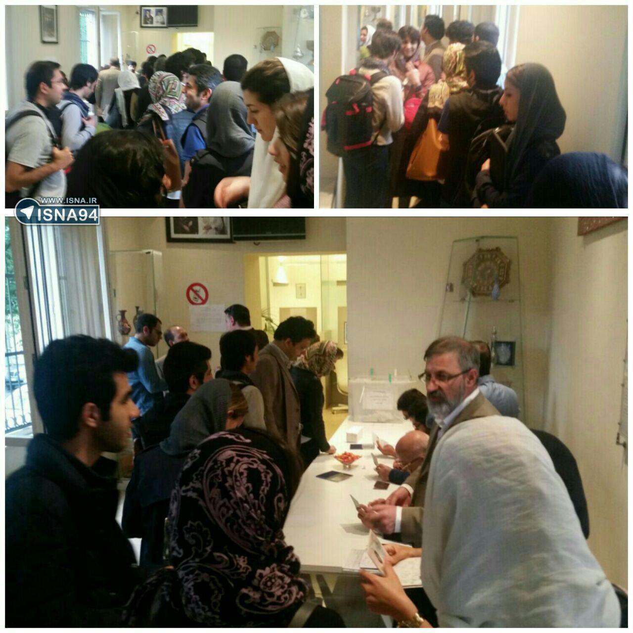 شعبه اخذ رای در میلان ایتالیا در هوایی بارانی