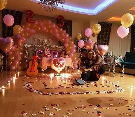 جشن تولد عاشقانه مهسا جاور در کنار همسرش