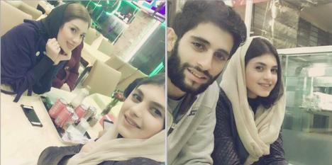 میلاد عبادی پور در کنار همسر و خواهرش