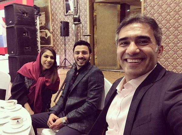 سلفی احمدرضا عابدزاده در کنار دخترش نگار و دامادش+عکس