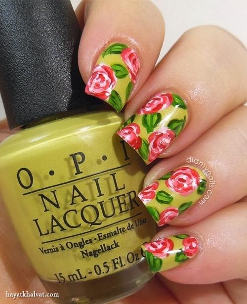 طراحی ناخن تابستانی ، طراحی ناخن گلدار