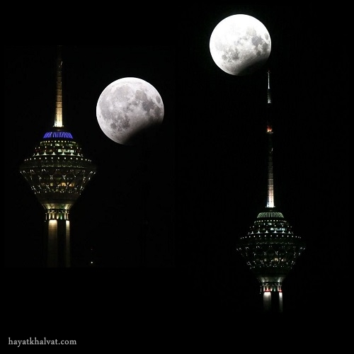 نمایی زیبا از ماهگرفتگی بر فراز برج میلاد
