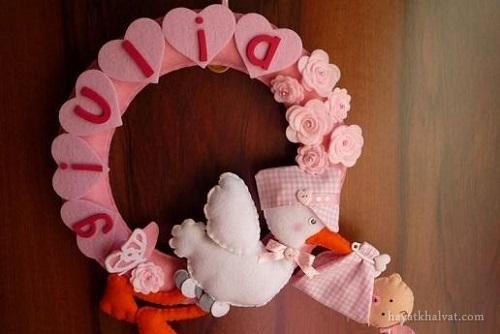 حلقه در برای اتاق کودک , آویز اسم نمدی