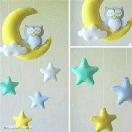 آویز نمدی ماه و ستاره , آویز نمدی اتاق کودک , تزیین سیسمونی