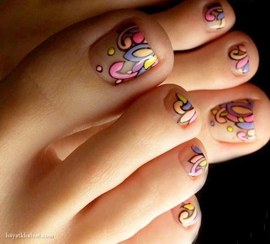 طراحی ناخن پا 2017 , پدیکور و طراحی ناخن پا