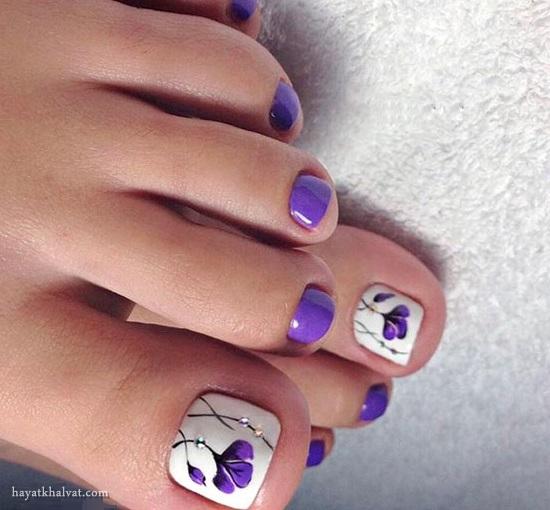 پدیکور و طراحی ناخن پا , دیزاین ناخن پا