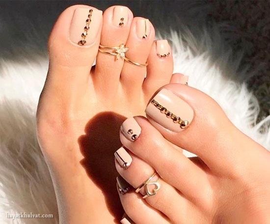 طراحی ناخن پا جدید , طراحی ناخن پا شیک