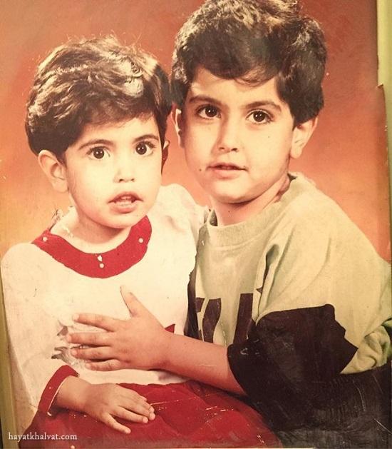عکس کودکی ساناز طاری و برادرش
