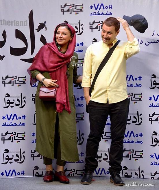جواد عزتی و همسرش در اکران فیلم زادبوم