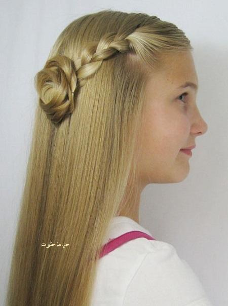 شینیون مو دخترانه ساده , مدل مو دخترانه ساده