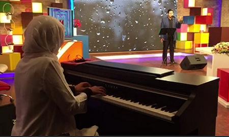 فیلم پیانو زدن همسر سالار عقیلی در استودیو برنامه حالا خورشید