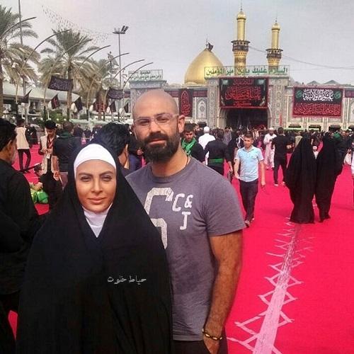 حدیثه تهرانی و همسرش در حرم حضرت علی