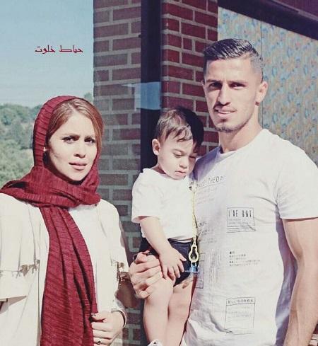 گلزن داربی علی علیور در کنار همسر و پسرش