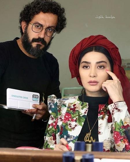 عکس مریم معصومی و طراح گریم حسين اردستاني