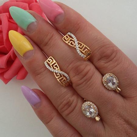 ست انگشتر و گوشواره طلا