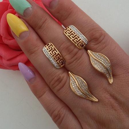 ست جدید انگشتر و گوشواره طلا