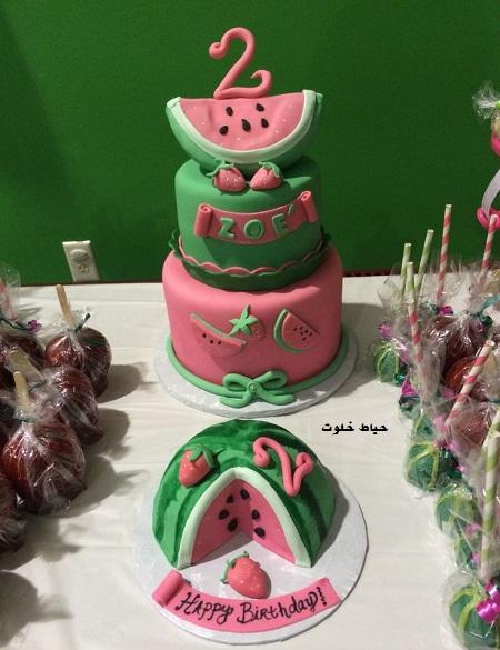 کیک هندوانه با فوندانت