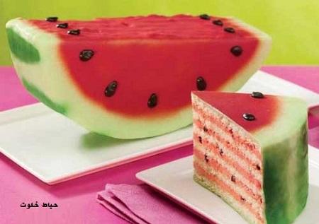 کیک هندوانه ای ساده