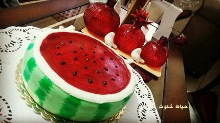 کیک هندوانه ای , کیک هندوانه زیبا