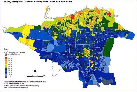 نقشه مناطق آسیب پذیر تهران در زمان زلزله