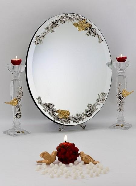 مدل های جدید آیینه و شمعدان نقره کوب