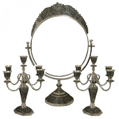 مدل آیینه و شمعدان نقره