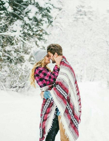 عکس عاشقانه زیر برف