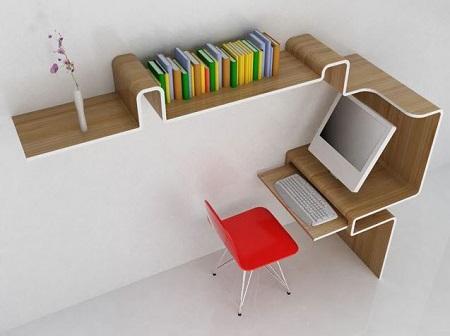 مدل میز کامپیوتر چوبی و کم جا