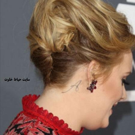 مدل تاتو ادل ، طرح تاتو روی گردن ادل،adele tattoo