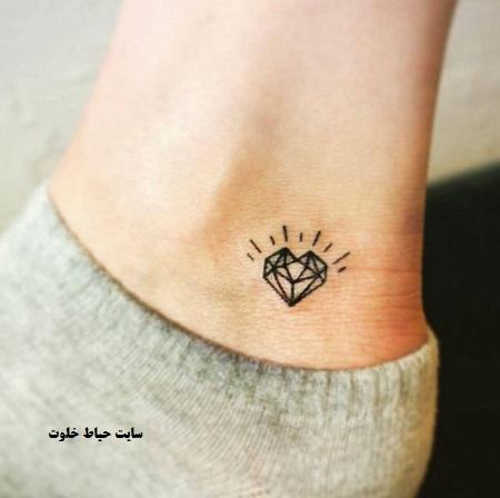 مدل tattoo خاص روی مچ پا ، طرح تاتو الماس