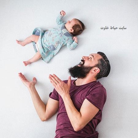 ژست عکس نوزاد و پدر