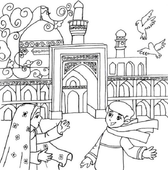 رنگ آمیزی کودکانه , نقاشی کودکانه درباره امام رضا