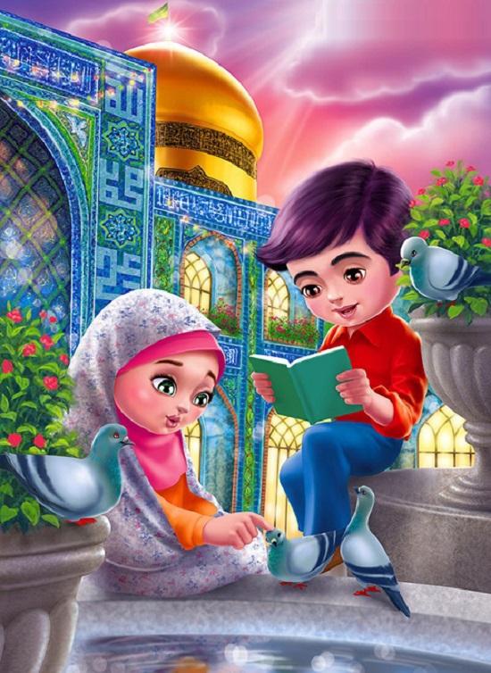 نقاشی های کودکانه درباره امام رضا (ع) برای ایده و رنگ آمیزی