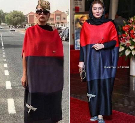 تقلید بازیگر زن جنجالی از لباس یک مدل خارجی